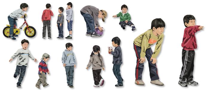 Vol.26 切り抜き人物(6) 子ども | 建築パース素材無料ダウン...